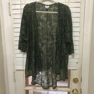LuLaRoe Lindsay Kimono Medium Olive Green Lace